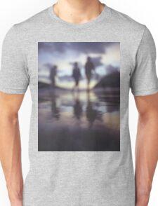 Silhouette of people walking on beach dusk sunset evening sky Hasselblad medium format film analogue photo Unisex T-Shirt