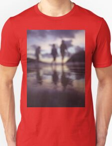 Silhouette of people walking on beach dusk sunset evening sky Hasselblad medium format film analogue photo T-Shirt