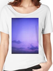 Clouds in sky in blue purple dusk sunset evening in Ibiza summer Hasselblad square medium format film analogue photo Women's Relaxed Fit T-Shirt
