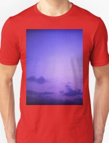 Clouds in sky in blue purple dusk sunset evening in Ibiza summer Hasselblad square medium format film analogue photo T-Shirt