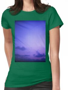 Clouds in sky in blue purple dusk sunset evening in Ibiza summer Hasselblad square medium format film analogue photo Womens Fitted T-Shirt