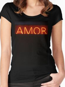 Neon light sign Amor love in Spanish on black medium format film analogue photo Women's Fitted Scoop T-Shirt
