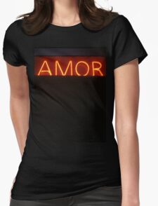 Neon light sign Amor love in Spanish on black medium format film analogue photo Womens Fitted T-Shirt