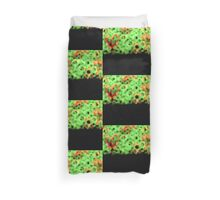 Red love hearts green circles and grass semi abstract square analog film photo Duvet Cover