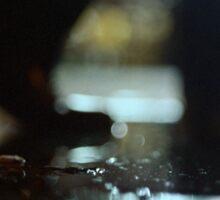 Man walking at night with urban city lights artistic color medium format square negative analog film photo Sticker