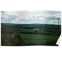 Railway viaduct seen Between Harewood House and Haworth, West Yorkshire England 19840603 0033m Poster