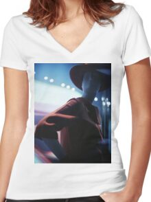 Portrait of shop dummy store mannequin Hasselblad square medium format film analogue photograph Women's Fitted V-Neck T-Shirt