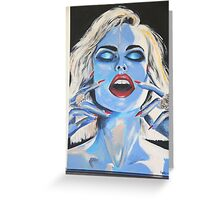 Blue woman Eyes closed Greeting Card