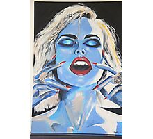 Blue woman Eyes closed Photographic Print