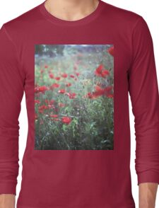 Red wild poppy flowers on green Hasselblad square medium format film analogue photograph Long Sleeve T-Shirt