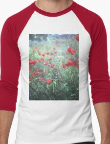 Red wild poppy flowers on green Hasselblad square medium format film analogue photograph Men's Baseball ¾ T-Shirt