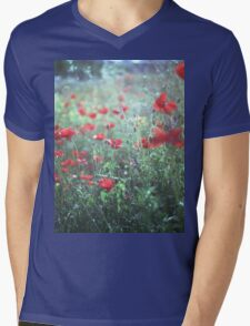 Red wild poppy flowers on green Hasselblad square medium format film analogue photograph Mens V-Neck T-Shirt