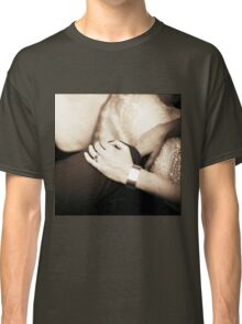 Bride and groom holding hands in wedding marriage party silver gelatin black and white 35mm negative analog film sepia photo  Classic T-Shirt