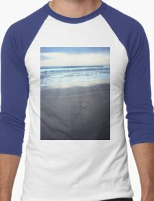 Foot prints at dawn on empty sandy beach sea side Hasselblad square medium format film analogue photograph Men's Baseball ¾ T-Shirt