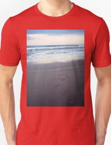 Foot prints at dawn on empty sandy beach sea side Hasselblad square medium format film analogue photograph T-Shirt