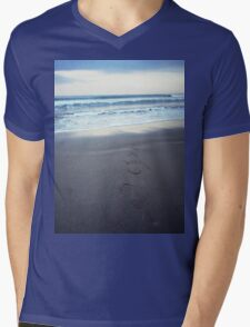 Foot prints at dawn on empty sandy beach sea side Hasselblad square medium format film analogue photograph Mens V-Neck T-Shirt