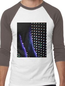 Futuristic shop dummy mannequin at night in led light effect analogue film photograph Men's Baseball ¾ T-Shirt