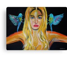 Blonde girl with 2 birds Canvas Print