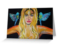 Blonde girl with 2 birds Greeting Card