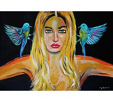 Blonde girl with 2 birds Photographic Print