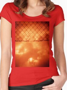 Wire mesh fence against stormy sky silver gelatin black and white medium format 120 6x6 negative analog film photo in sepia tones Women's Fitted Scoop T-Shirt