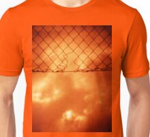 Wire mesh fence against stormy sky silver gelatin black and white medium format 120 6x6 negative analog film photo in sepia tones Unisex T-Shirt