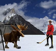 NOW THATS REAL CANADIAN HOCKEY...STARRING MOOSE AS GOALIE...R.C.M.P. MOUNTIE (POLICE) PICTURE AND OR CARD,PRINTS ECT. by ✿✿ Bonita ✿✿ ђєℓℓσ