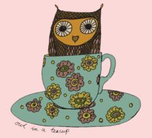 Owl in a teacup One Piece - Short Sleeve
