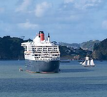 The Queen Mary 2 and the R. Tucker Thompson.........! by Roy  Massicks