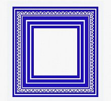 Blue Lines Geometric Abstract Pattern by Saundra Myles