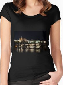 Prague at night. Women's Fitted Scoop T-Shirt