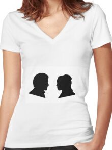 Jaime and Cersei Lannister Silhouette Profiles Women's Fitted V-Neck T-Shirt