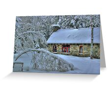 Stone House After Snowstorm Greeting Card