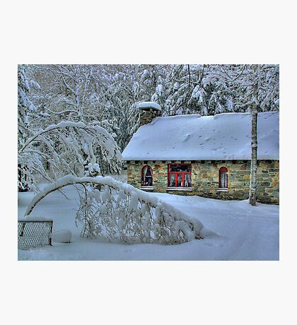 Stone House After Snowstorm Photographic Print