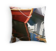Wooden Dinghy Reflection Throw Pillow