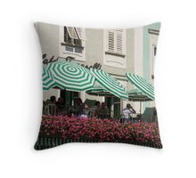 Peppermint Stripes   - Cafe in  Saltzburg Throw Pillow