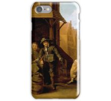 Jacob Duck - A Street Scene with Knife Grinder and Elegant Couple iPhone Case/Skin
