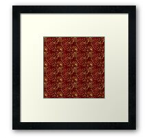 burgundy with gold flowers Framed Print
