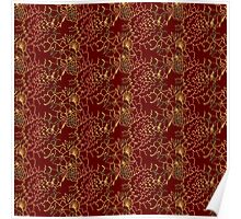 burgundy with gold flowers Poster