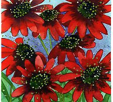 Red Flowers by Louise  Buss