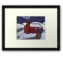 Little Red House Snowscene Framed Print