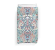 Botanical Geometry - nature pattern in red, blue & cream Duvet Cover