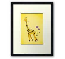 Yellow Cartoon Funny Giraffe Roller Skating Framed Print