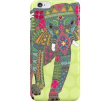 painted elephant chartreuse iPhone Case/Skin