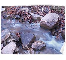 water rushing over rocks Poster