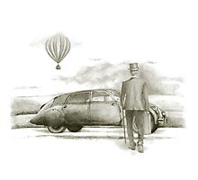 man with a veteran car  Photographic Print
