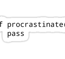 def procrastinate pass - Funny Blue Shirt for Python Programmers Sticker