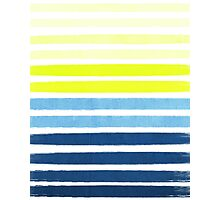 Stripes - Navy and Yellow -- Bright Summer Stripe Design for Cell Phone Case Photographic Print