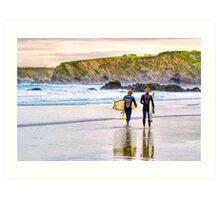 Surfing Zen - Newquay Beach Art Print