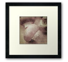 Still life of chestnut mushrooms Framed Print